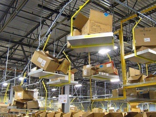 Conveyor with automatic dumping device to remove corrugated vendor cartons in distribution centers