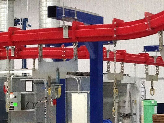 High capacity conveyor can products weighing up to 220 lbs. from a single pendant