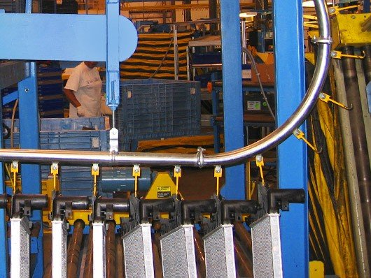Photos of gravity assisted and over/under conveyor systems.