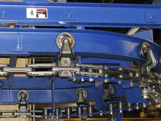 Photos of recently installed I-beam overhead conveyor systems.