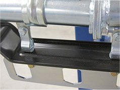 Dust shields for garment conveyors to catch debris from falling onto garments.