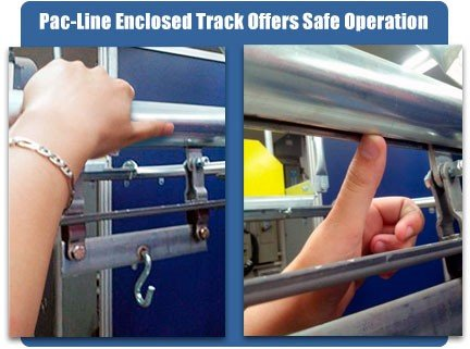 PAC-LINE enclosed track overhead conveyor offers safe operation.