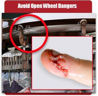 Avoid open wheel dangers by choosing a Pacline overhead conveyor.