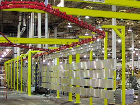 Conveyors to automate cleaning and osurface preparation steps for metal finishing operations