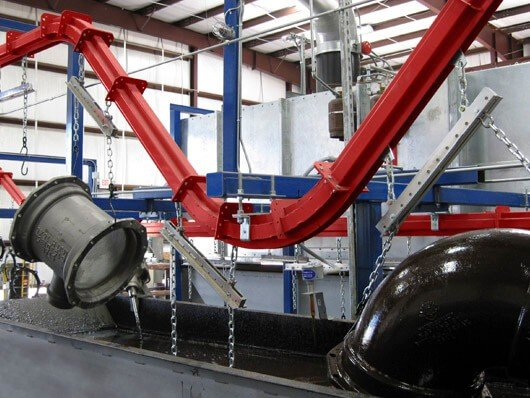Conveyors to automate dip line finishing operations.