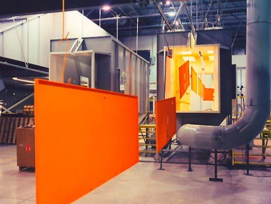 Power and free conveyors and overhead conveyors suitable for handling products through a powder coating line