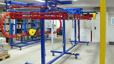 Power and Free mobile conveyor loop used for testing