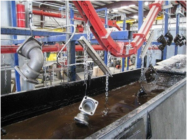 Overhead conveyor for heavy loads through a wet paint dip line.