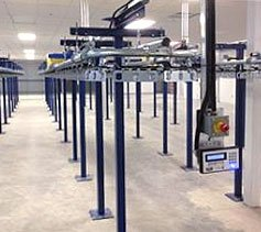 Single track, one tier garment conveyor system.