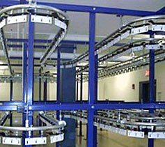 Two track, two tier garment conveyor system.