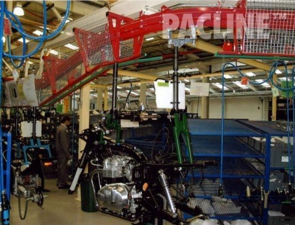 High capacity PAC-MAX conveyor used to carry motorcycles through the assembly process.
