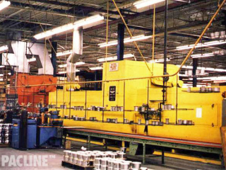 PACLINE overhead conveyor with double decker carriers for aluminum parts assembly line.