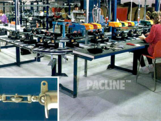 Inverted, floor mounted PAC-LINE™ Conveyor system for assembly of electronic parts.
