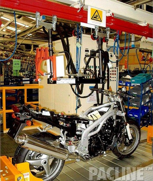 PAC-MAX high capacity conveyor for assembly of motorcycles, is perfect for carrying large heavy loads.