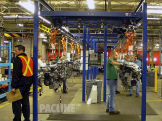 I-beam monorail conveyors are amongst the most commonly used overhead conveyors for assembly line applications.
