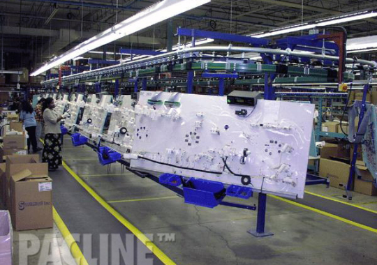 Automotive wire harness transported through assembly process on enclosed track overhead conveyor.