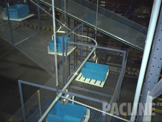 Delivering plastic totes to multi-leveled pick module, tray carriers and basket guarding, the PAC-LINE overhead conveyor.