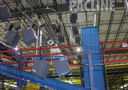 Returning totes to tote loading areas, using the PAC-LINE™ enclosed track overhead conveyor.