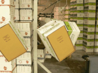 Cartons are transported on single hook carriers using a PAC-LINE™ overhead conveyor system.