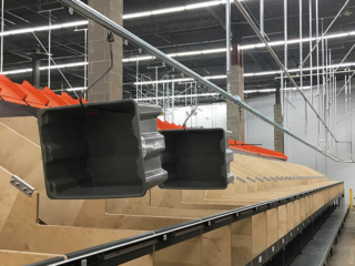 Empty tote handling project in a retail Distribution Center.  Approximately 1300 feet long.