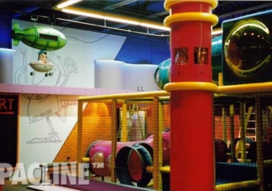 Decorative hot air balloons entertain children as they are conveyed nonstop around this restaurant and playground.