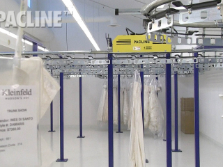 PACLINE garment conveyor is compact to maximize the use of this small storage area.