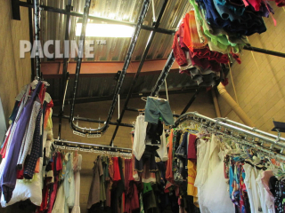 PACLINE's garment conveyor is used for quick, easy storage and retrieval of hanging items such as coats in restaurants, casinos and hotels.