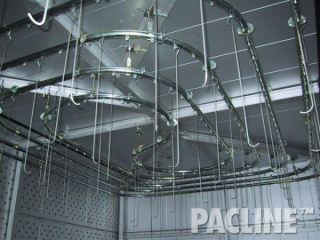 The maze of overhead conveyor demonstrates a highly efficient use of Pacline straight track and curves.