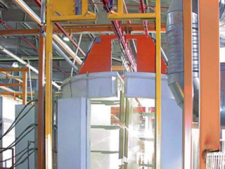 Powder coating of steel safe components using long load bars and bias banking for storage.