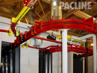 PACLINE power and free conveyor system incorporates quality assurance feature in powder coating paint line.
