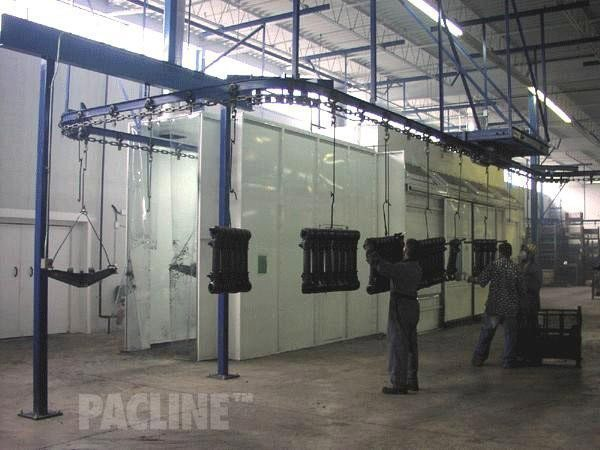 A 4 inch I-beam overhead conveyor used in wet spraying of heavy truck suspension components.