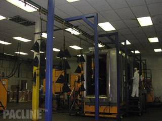 Powder coating of BBQ parts with multiple position load bars on 3 inch I-beam overhead conveyor.