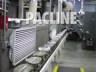 This enclosed track automotive finishing line is used to convey parts through the paint spraying and curing processes.