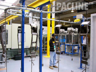 The PAC-LINE™ conveyor system for plastics finishing of automotive consoles. Floor and equipment supported conveyor.