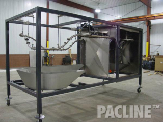 Overhead conveyor dip finishing line on rolling structure with tight radius curves to minimize size of unit.