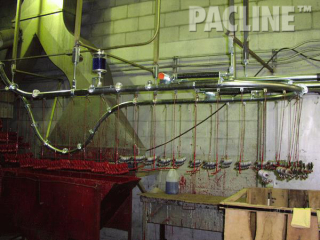 Dip paint finishing of lifting hooks in confined area using The PAC-LINE™ enclosed track overhead conveyor.