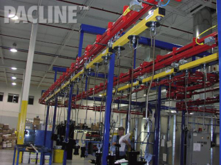 Power and Free overhead conveyor for spray paint finishing of pneumatic and hydraulic cylinders.