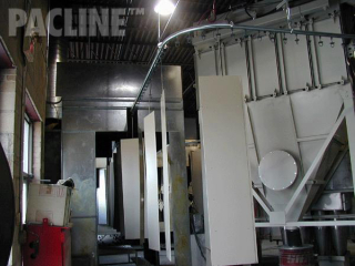 Powder coating of storage locker components on rotating carriers, the PAC-LINE™ enclosed track overhead conveyor.