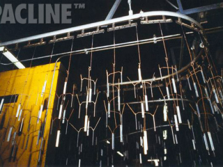 The PAC-LINE™ conveyor system for paint finishing of small metal parts using multiple-point or track type carriers.