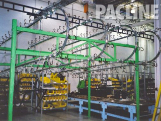 Gravity over and under conveyor with double hooks for buffering frames used to manufacture man lifts.
