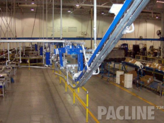 Incline elevation changes are accomplished by pushing trolleys on gravity rail up an incline conveyor section.