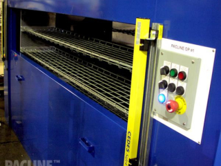 Example of Pacline vertical conveyor used for buffer storage of cooling aluminum parts.