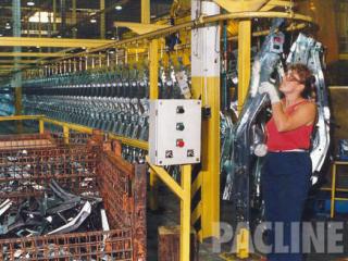 Buffer storage of automotive frames on a high density overhead conveyor system.