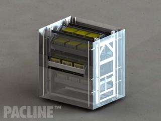 Model of The PAC-RAK™ vertical storage conveyor.