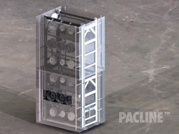 Double height vertical conveyor