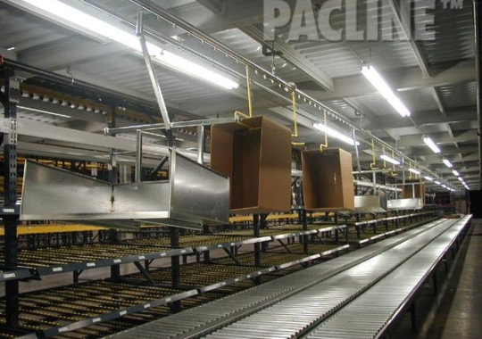 Corrugate trash removal from pick module with dumping carriers. The PACLINE overhead conveyor system also delivers empty cartons.