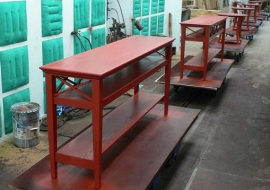 Furniture that is difficult to convey on an overhead conveyor is ideally handled by the PAC-TRAK towline system.