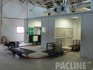 PAC-TRAK™ towline floor conveyor from PACLINE handles awkward furniture through paint finishing process.