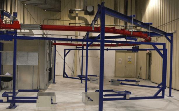 Heavy duty single loop conveyor track for paint finishing