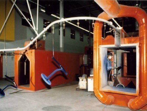 Monorail conveyor for powder coating